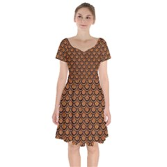 SCALES2 BLACK MARBLE & RUSTED METAL Short Sleeve Bardot Dress