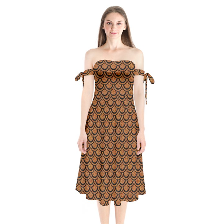 SCALES2 BLACK MARBLE & RUSTED METAL Shoulder Tie Bardot Midi Dress