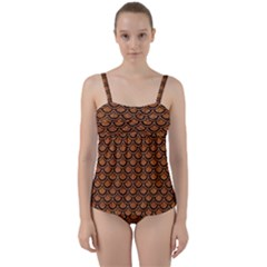 SCALES2 BLACK MARBLE & RUSTED METAL Twist Front Tankini Set