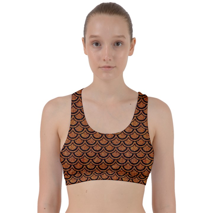 SCALES2 BLACK MARBLE & RUSTED METAL Back Weave Sports Bra