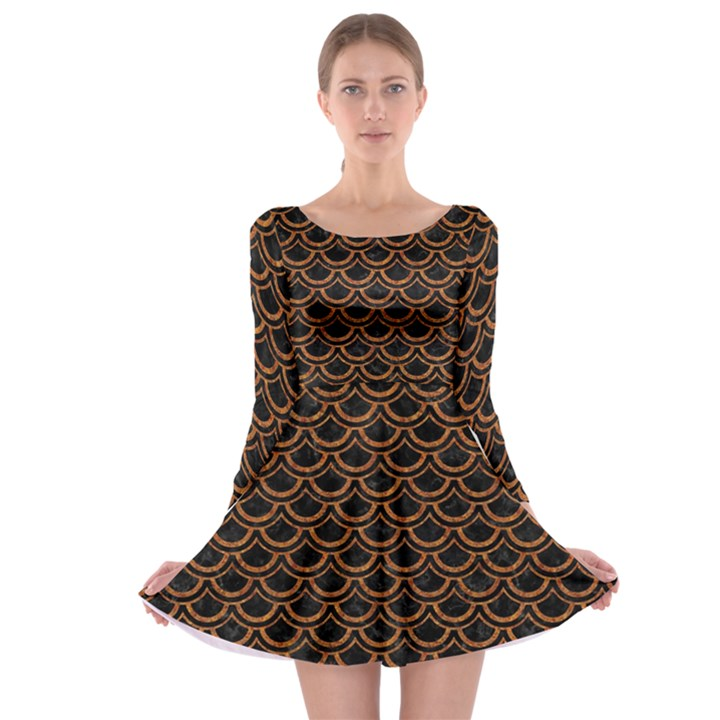 SCALES2 BLACK MARBLE & RUSTED METAL (R) Long Sleeve Skater Dress