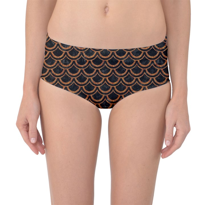 SCALES2 BLACK MARBLE & RUSTED METAL (R) Mid-Waist Bikini Bottoms
