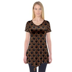 SCALES2 BLACK MARBLE & RUSTED METAL (R) Short Sleeve Tunic