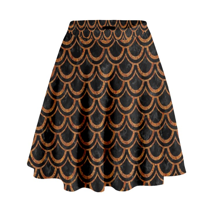 SCALES2 BLACK MARBLE & RUSTED METAL (R) High Waist Skirt