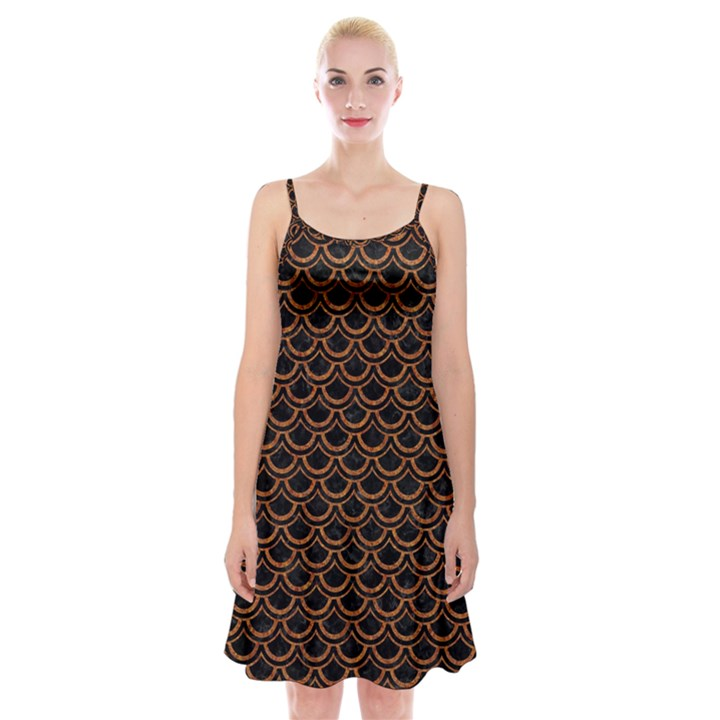 SCALES2 BLACK MARBLE & RUSTED METAL (R) Spaghetti Strap Velvet Dress