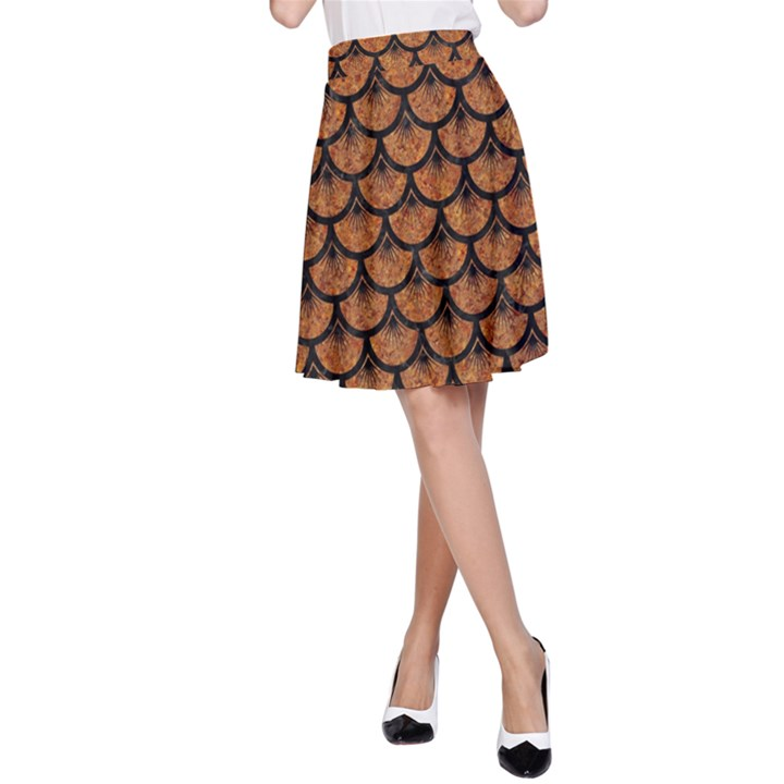 SCALES3 BLACK MARBLE & RUSTED METAL A-Line Skirt