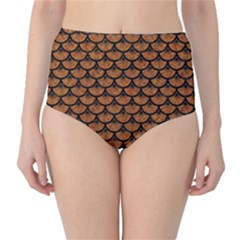 SCALES3 BLACK MARBLE & RUSTED METAL High-Waist Bikini Bottoms