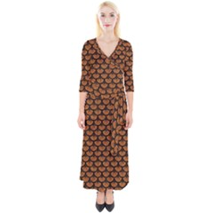 SCALES3 BLACK MARBLE & RUSTED METAL Quarter Sleeve Wrap Maxi Dress