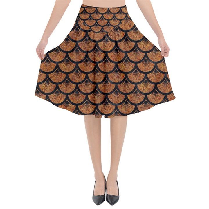 SCALES3 BLACK MARBLE & RUSTED METAL Flared Midi Skirt