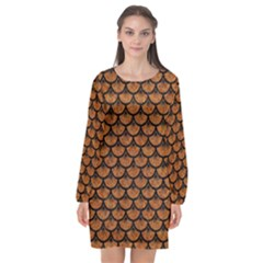 SCALES3 BLACK MARBLE & RUSTED METAL Long Sleeve Chiffon Shift Dress