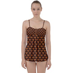 SCALES3 BLACK MARBLE & RUSTED METAL Babydoll Tankini Set