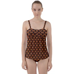 SCALES3 BLACK MARBLE & RUSTED METAL Twist Front Tankini Set