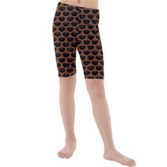 SCALES3 BLACK MARBLE & RUSTED METAL (R) Kids  Mid Length Swim Shorts
