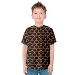 Scales3 Black Marble & Rusted Metal (r) Kids  Cotton Tee