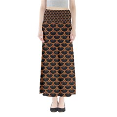 SCALES3 BLACK MARBLE & RUSTED METAL (R) Full Length Maxi Skirt