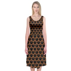 SCALES3 BLACK MARBLE & RUSTED METAL (R) Midi Sleeveless Dress
