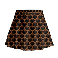 Scales3 Black Marble & Rusted Metal (r) Mini Flare Skirt by trendistuff