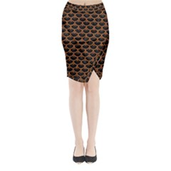 SCALES3 BLACK MARBLE & RUSTED METAL (R) Midi Wrap Pencil Skirt
