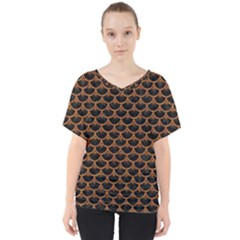SCALES3 BLACK MARBLE & RUSTED METAL (R) V-Neck Dolman Drape Top