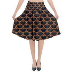 SCALES3 BLACK MARBLE & RUSTED METAL (R) Flared Midi Skirt