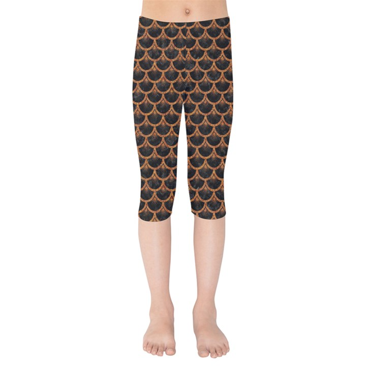 SCALES3 BLACK MARBLE & RUSTED METAL (R) Kids  Capri Leggings