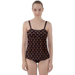 SCALES3 BLACK MARBLE & RUSTED METAL (R) Twist Front Tankini Set