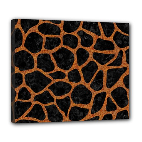 Skin1 Black Marble & Rusted Metal Deluxe Canvas 24  X 20   by trendistuff