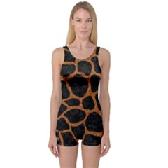 Skin1 Black Marble & Rusted Metal One Piece Boyleg Swimsuit