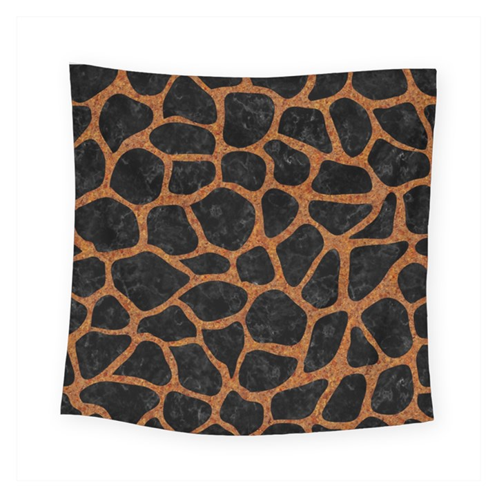 SKIN1 BLACK MARBLE & RUSTED METAL Square Tapestry (Small)