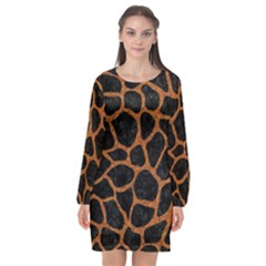 Skin1 Black Marble & Rusted Metal Long Sleeve Chiffon Shift Dress