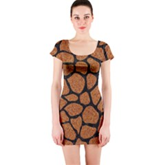 Skin1 Black Marble & Rusted Metal (r) Short Sleeve Bodycon Dress