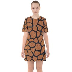 Skin1 Black Marble & Rusted Metal (r) Sixties Short Sleeve Mini Dress by trendistuff