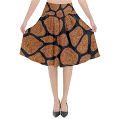 Skin1 Black Marble & Rusted Metal (r) Flared Midi Skirt by trendistuff
