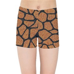 Skin1 Black Marble & Rusted Metal (r) Kids Sports Shorts
