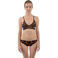 Skin2 Black Marble & Rusted Metal (r) Wrap Around Bikini Set by trendistuff