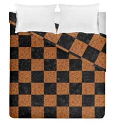 Square1 Black Marble & Rusted Metal Duvet Cover Double Side (queen Size) by trendistuff