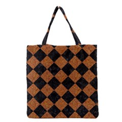 Square2 Black Marble & Rusted Metal Grocery Tote Bag by trendistuff