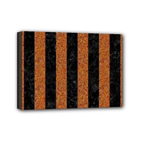 Stripes1 Black Marble & Rusted Metal Mini Canvas 7  X 5  by trendistuff