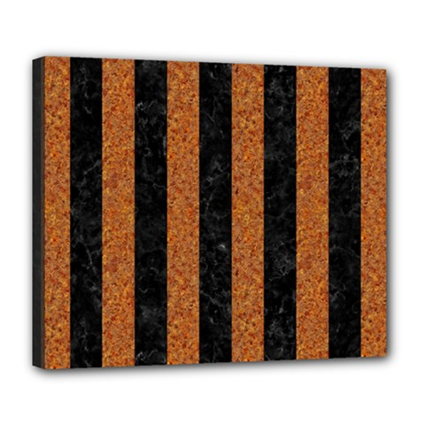 Stripes1 Black Marble & Rusted Metal Deluxe Canvas 24  X 20   by trendistuff