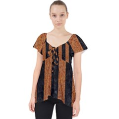 Stripes1 Black Marble & Rusted Metal Lace Front Dolly Top
