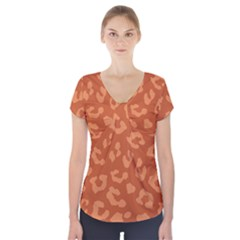 Autumn Animal Print 3 Short Sleeve Front Detail Top by tarastyle