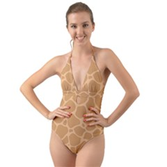 Autumn Animal Print 10 Halter Cut-Out One Piece Swimsuit