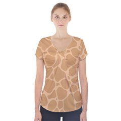 Autumn Animal Print 10 Short Sleeve Front Detail Top