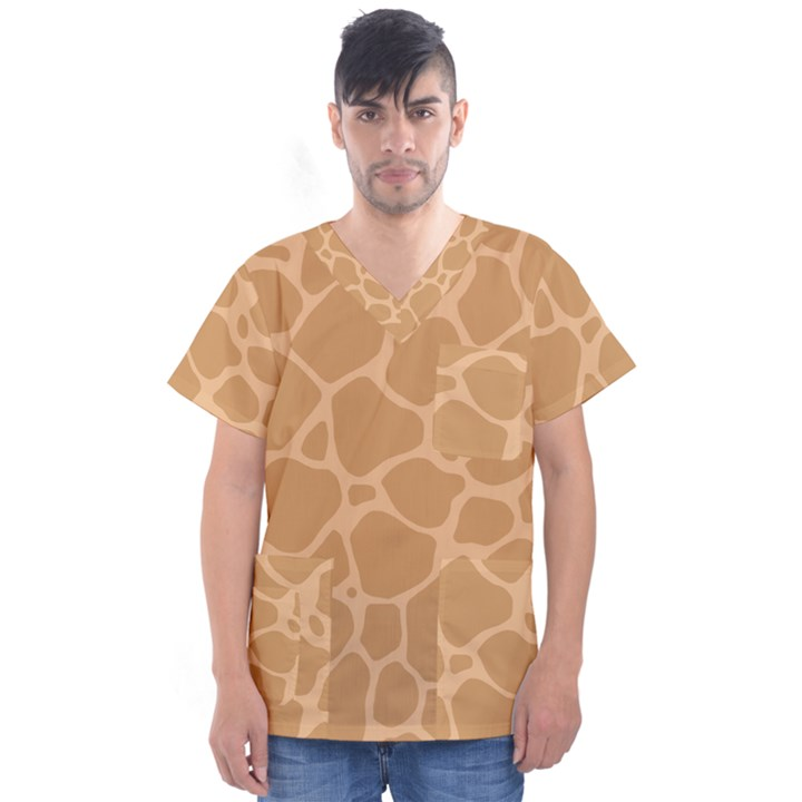Autumn Animal Print 10 Men s V-Neck Scrub Top