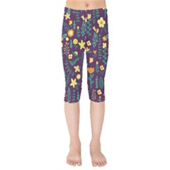 Cute Doodle Flowers 2 Kids  Capri Leggings