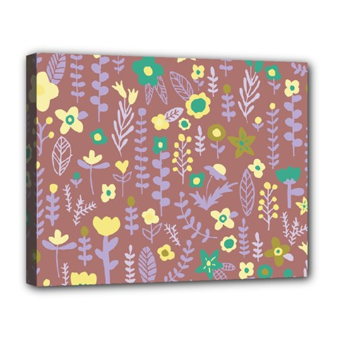 Cute Doodle Flowers 3 Canvas 14  X 11  by tarastyle