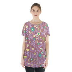 Cute Doodle Flowers 3 Skirt Hem Sports Top