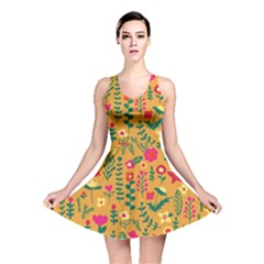 Cute Doodle Flowers 4 Reversible Skater Dress