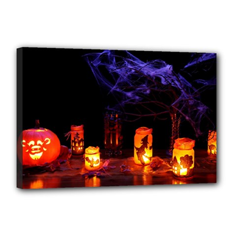 Awaiting Halloween Night Canvas 18  X 12  by gothicandhalloweenstore