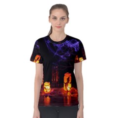 Awaiting Halloween Night Women s Cotton Tee